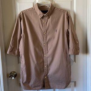 All Saints Mens Short Sleeve Tan Button Up Shirt